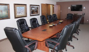 Our large conference room comfortably seats 12.